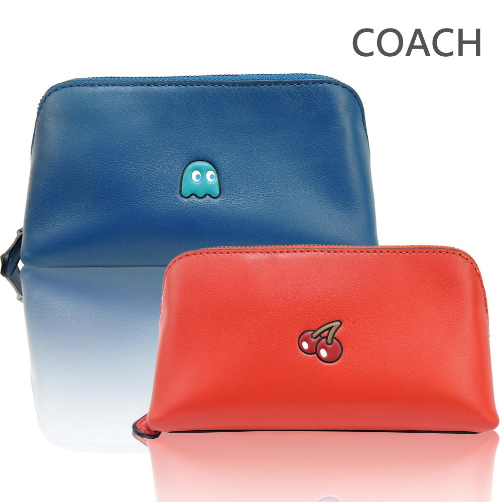 COACH 限量款 PAC MAN 素面皮革化妝包(2色選)