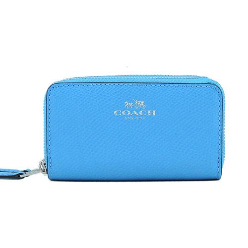 COACH 燙金 LOGO 雙拉鍊防刮皮革小零錢包(藍)