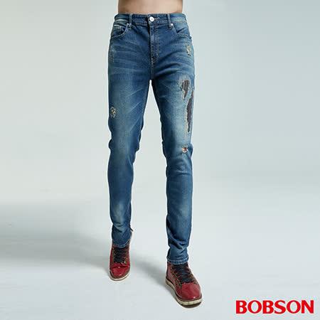 BOBSON 男款大彈力補釘窄管褲 (1829-53)