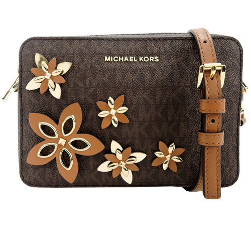 MICHAEL KORS FLOWER 滿版MK皮革花朵斜背包(咖)
