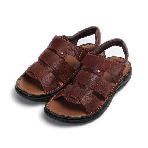 (男) BONJO 真皮鉚釘縫線男士涼鞋 咖 男鞋 鞋全家福