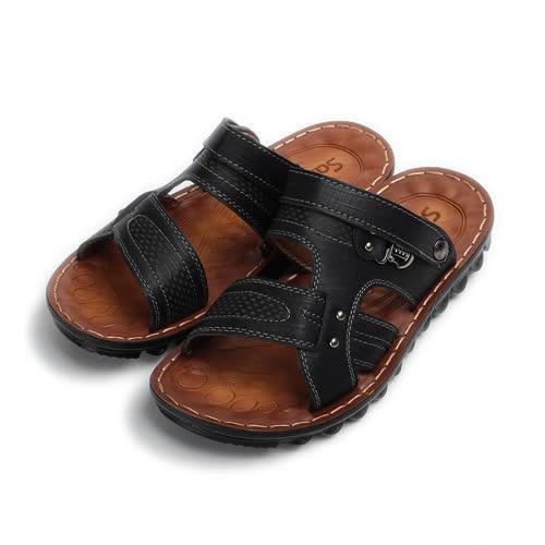 (男) SARTORI 鉚釘男士涼拖鞋 黑 男鞋 鞋全家福