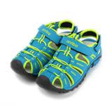 (大童) ARRIBA 護趾兩穿運動涼拖鞋 藍 童鞋 鞋全家福