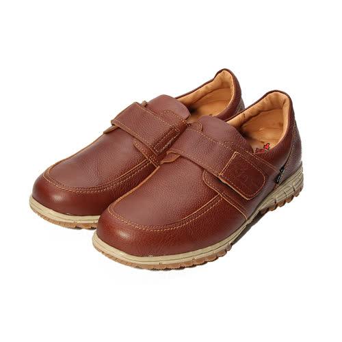 (男) ZOBR 真皮黏帶休閒鞋 棕 男鞋 鞋全家福