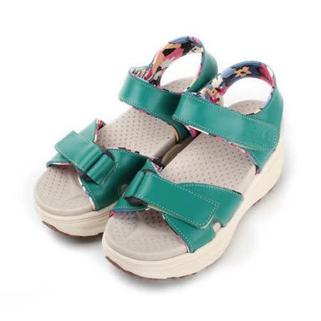 (女) ZOBR 真皮花襯厚底涼鞋 藍 女鞋 鞋全家福