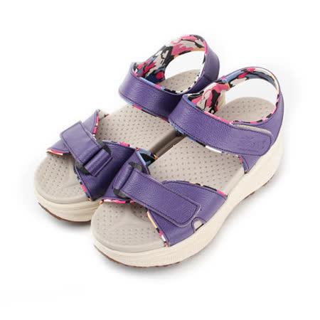 (女) ZOBR 真皮花襯厚底涼鞋 紫 女鞋 鞋全家福