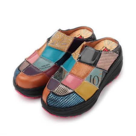 (女) ZOBR 真皮拼貼包頭拖鞋 藍金 女鞋 鞋全家福