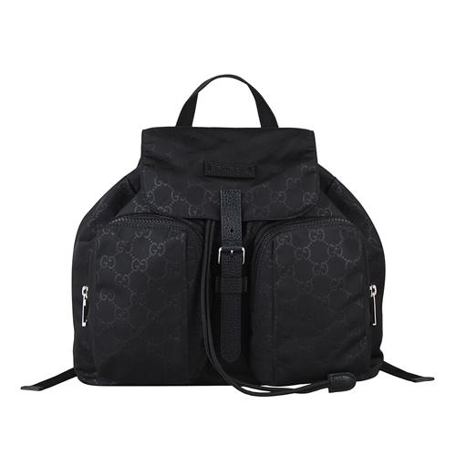 GUCCI 經典雙G LOGO尼龍束口袋後背包(黑)