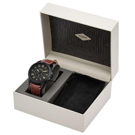 FOSSIL 古典伯爵三環計時套錶組-FS5335SET