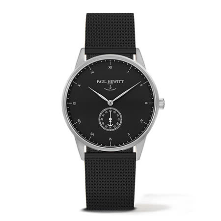 PAUL HEWITT Signature Line黑色金屬網眼錶帶 黑x銀色框單眼手錶/38mm