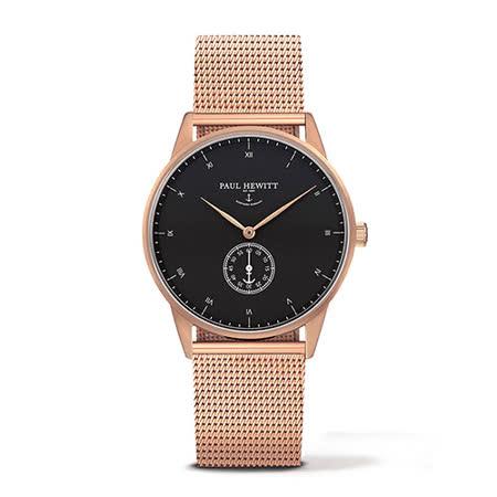 PAUL HEWITT Signature Line 玫瑰金色金屬網眼錶帶 單眼黑錶盤 手錶 38mm