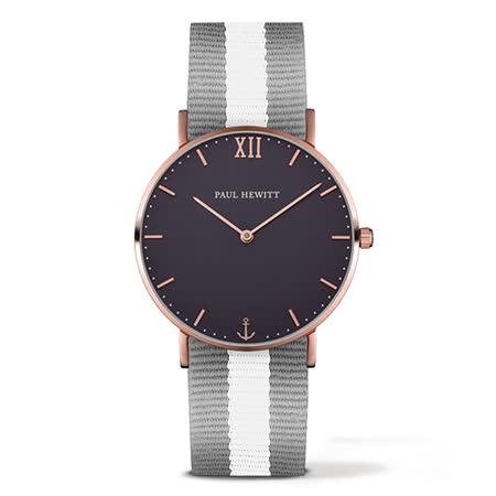 PAUL HEWITT Sailor Line灰白尼龍錶帶 海軍藍x玫瑰金框手錶39mm