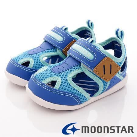 日本Carrot機能童鞋-休閒機能涼鞋-MSCNB875藍-(12.5cm-14.5cm)