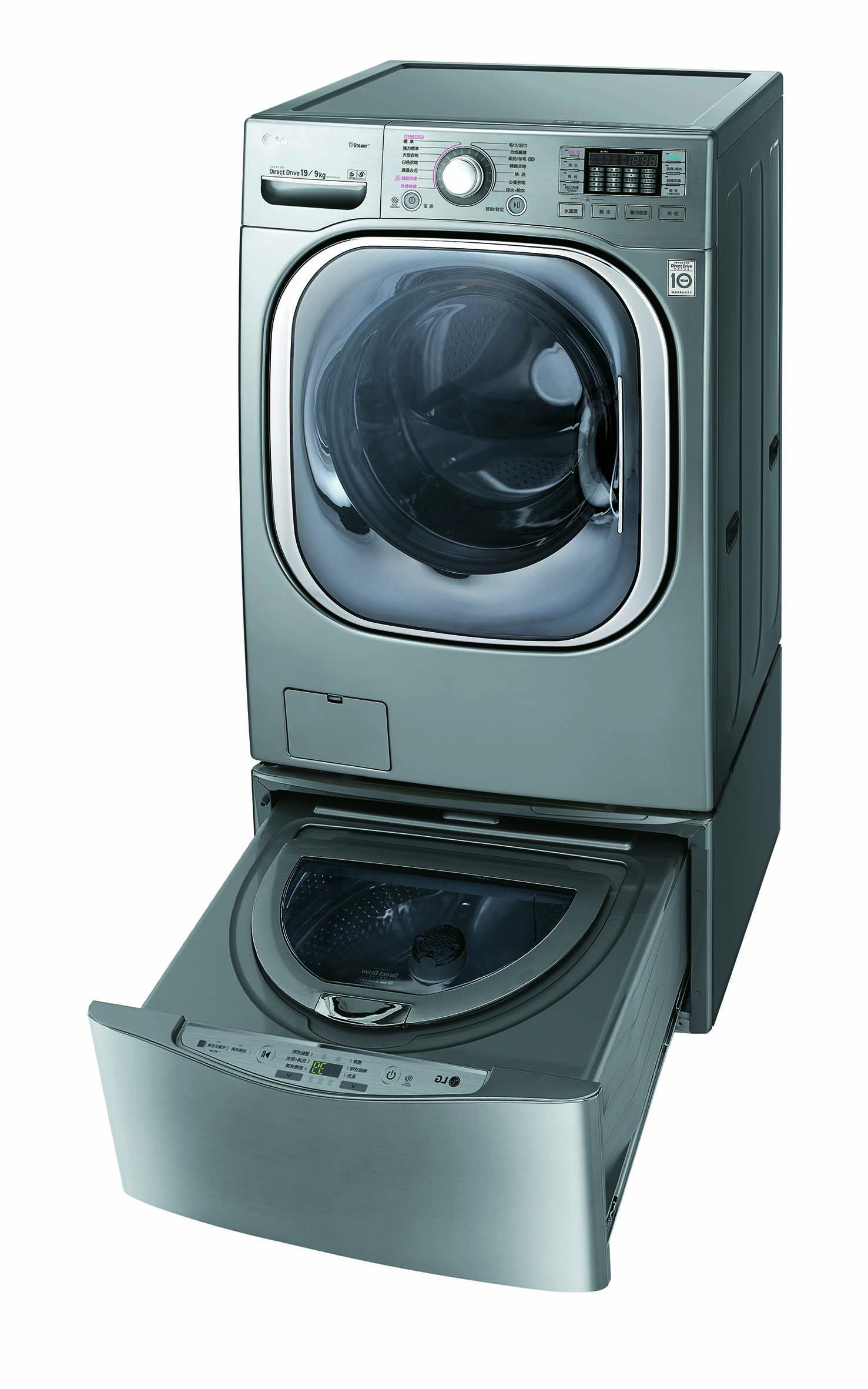 【LG 樂金】 TWINWash 雙能洗(洗脫烘) 19公斤+3.5公斤洗衣容量 (WD-S19TVD+WT-D350W/V)  含基本安裝 5/31前購買享原廠好禮送+送超商禮券3000