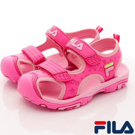 FILA頂級童鞋-護趾運動涼鞋-S432R-256桃粉-(18-22cm)