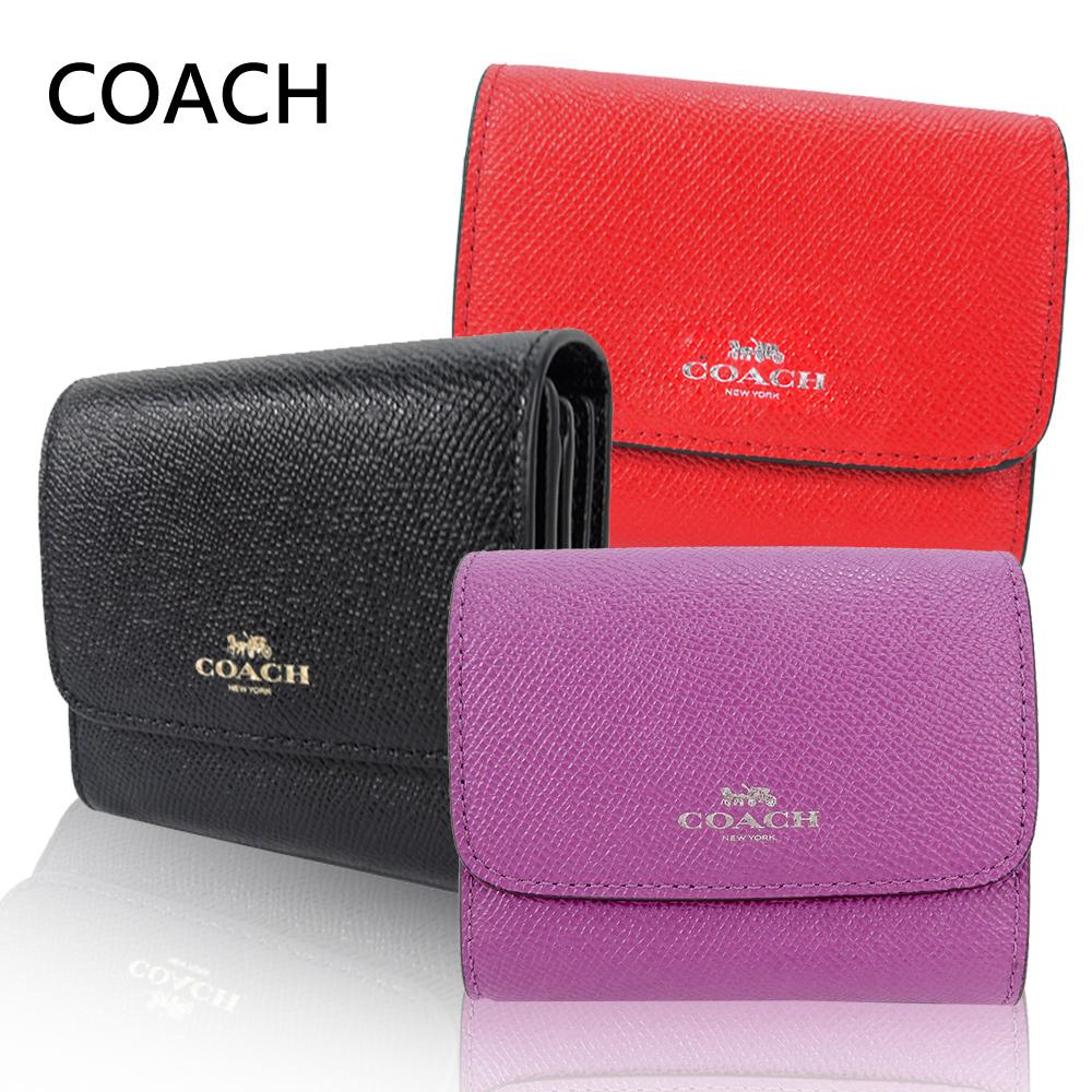 COACH 燙金馬車素色皮革兩折短夾(3色選)