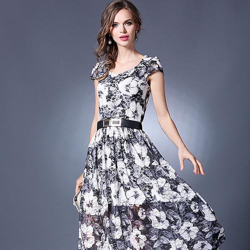 【Reko Fashion】V字領蕾絲印花連身長裙