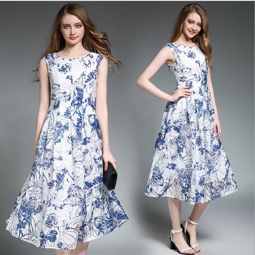 【Reko Fashion】淺藍色復古印花大擺連衣長裙