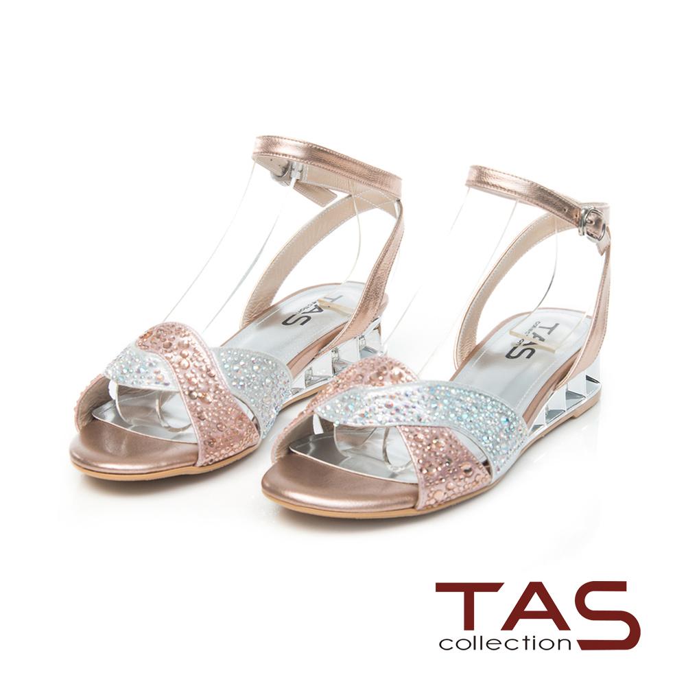 TAS 交叉水鑽繫踝小坡跟涼鞋~玫瑰金
