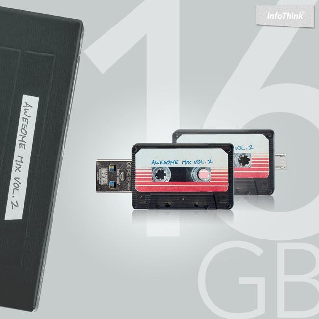 InfoThink 星際異攻隊 - 錄音帶OTG雙頭隨身碟16GB