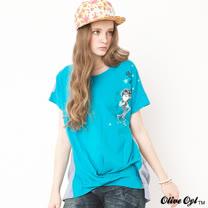 【Olive Oyl奧莉薇】水鑽配色拼接打褶長版上衣(共二色)
