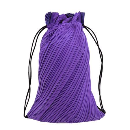 ISSEY MIYAKE 三宅一生 PLEATS PLEASE DRAWSTRING前拉鍊束口袋後背包(紫)