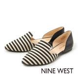 NINE WEST--條紋尖頭平底鞋--悠閒黑