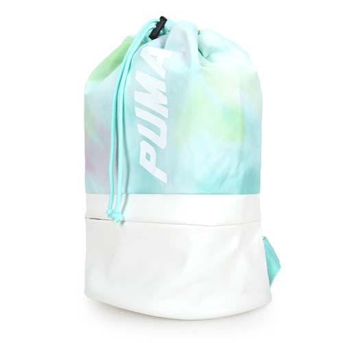 PUMA PRIME後背包-雙肩包 收納袋 束口袋 湖水綠白 F