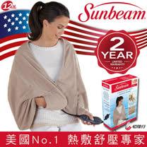 美國 Sunbeam 柔毛披蓋式電熱毯(兩色可選)