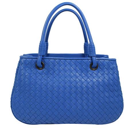 BOTTEGA VENETA 純手工編織小羊皮手提三層仕女包.藍