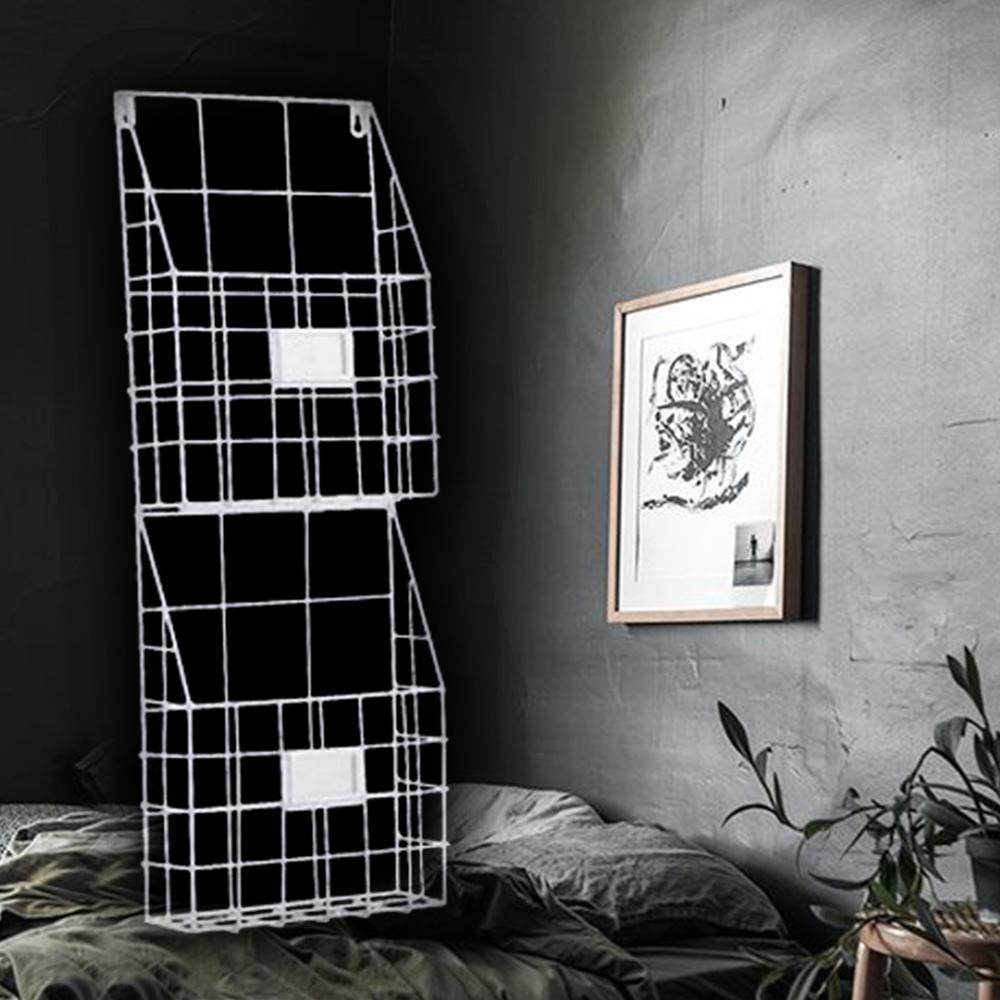 【收納職人】北歐幾何壁掛式鐵線編織籃/書報雜誌架/風格收納架(雙層/暖白)