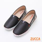 ZUCCA【z6108bk】撞色彩線紋休閒平底鞋-黑色
