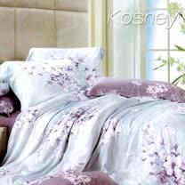 《KOSNEY 夢想花語》加大100%天絲TENCEL四件式兩用被床包組