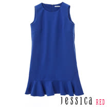 JESSICA RED - 素面實搭無袖修身魚尾洋裝(藍)