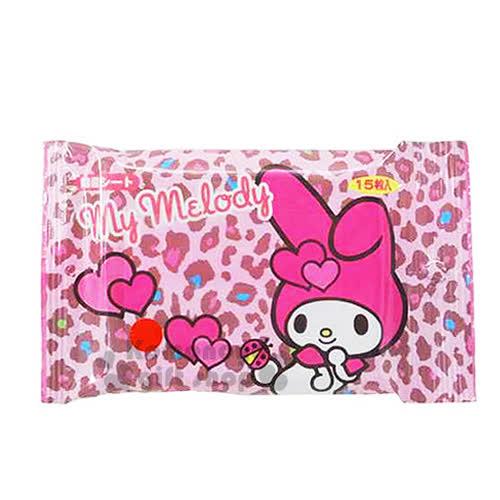 〔小禮堂〕美樂蒂 日製濕紙巾~粉.豹紋.愛心.瓢蟲~15抽抗菌濕紙巾