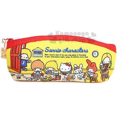 〔小禮堂〕Sanrio大集合 棉質拉鍊筆袋《黃.房間》Sanrio70年代人物系列