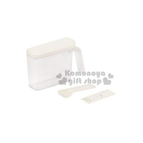 〔小禮堂〕PEARL METAL 日製透明調味盒~白.280ml~附匙.標籤貼紙