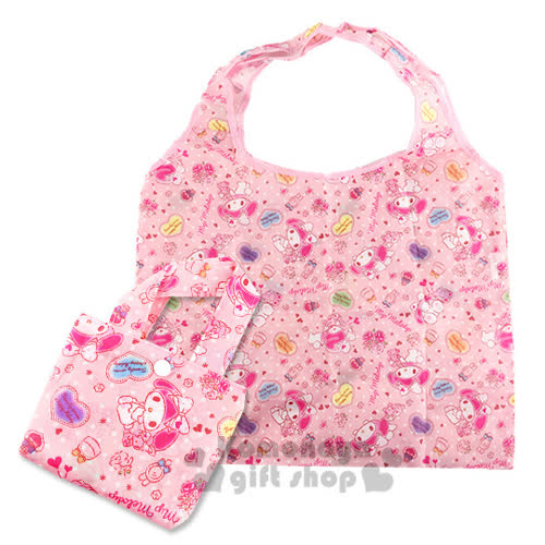 〔小禮堂〕美樂蒂 折疊式環保 袋~粉.點點.玩偶小兔.愛心~附收納提袋