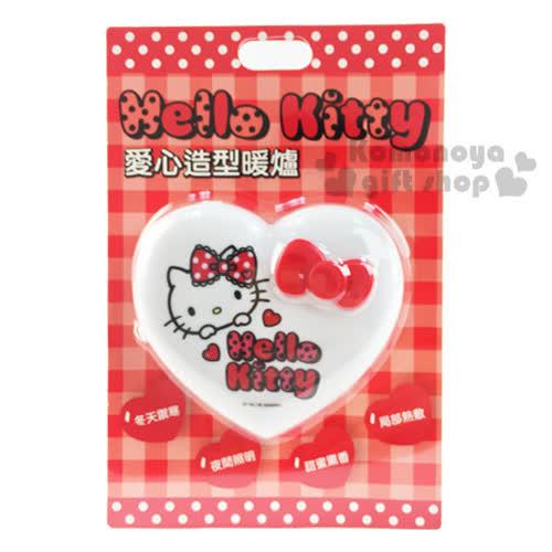 〔小禮堂〕Hello Kitty 愛心 暖蛋~白.紅蝴蝶結.大臉~附LED照明小燈