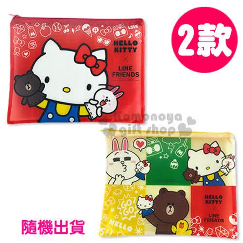 〔小禮堂〕Kitty X Line熊大 A4單層文件資料袋~L.2款 出貨.紅黃~網狀透明