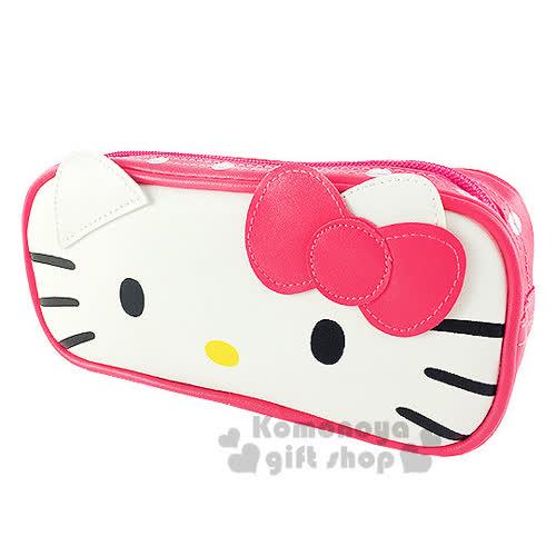 〔小禮堂〕Hello Kitty 皮革拉鍊筆袋~粉.大臉.點點~增添學習樂趣