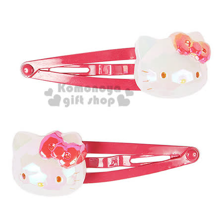 〔小禮堂〕Hello Kitty 兒童造型髮夾《2入.紅.大臉》甜美可愛