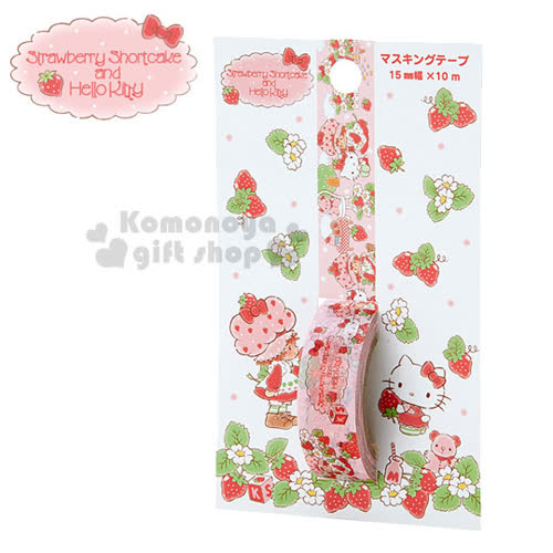 〔小禮堂〕Hello Kitty X Strawberry Shortcake 紙膠帶~粉