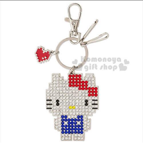 〔小禮堂〕Hello Kitty 鑰匙圈~銀.站姿.閃亮鑽石~位元系列