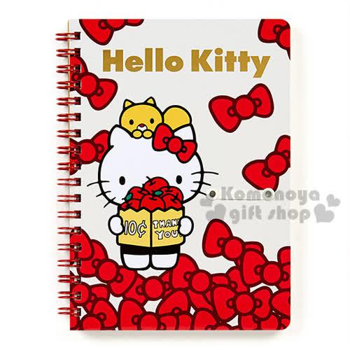 〔小禮堂〕Hello Kitty 日製線圈筆記本~B6.白.站姿.蝴蝶結.燙金~