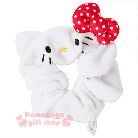 〔小禮堂〕Hello Kitty 造型髮圈《白.大臉.紅蝴蝶結》也可當可愛手環