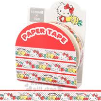 〔小禮堂〕Hello Kitty 紙膠帶《白.紅點點.大臉.水果.10mm》