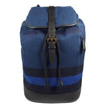 BURBERRY 經典紋棉麻皮革拼接束口翻蓋後背包.藍/黑