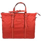 GUCCI 經典雙G緹花尼龍皮飾邊兩用托特購物包.橘紅