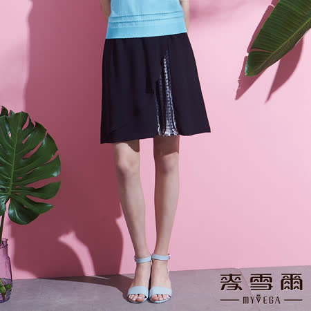 【麥雪爾】波浪壓摺圓點素面長裙